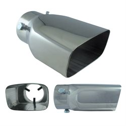 "Stainless Steel Exhaust Tip 3.5 X 1-5 / 8"" X 2-1 / 4"" X 6"" Rect. Slant"