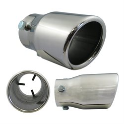 "Stainless Steel Exhaust Tip 3 X 1-5 / 8"" X 2-1 / 4"" X 6"" Round Slant"