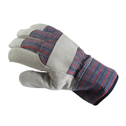 Non Insulated Cotton / Leather Gloves Grey & Blue Univ. Size,One Piece Palm