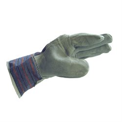 Insulated Cotton / Leather Gloves Grey,Blue and Red
